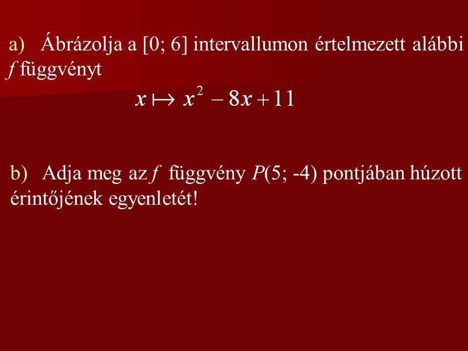 a) Ábrázolja a [0; 6] intervallumon értelmezett alábbi